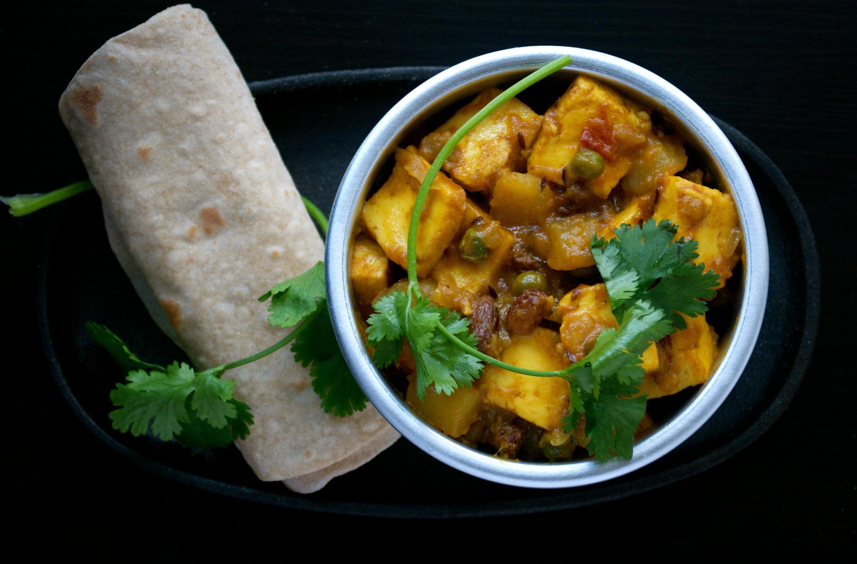 recipe: aloo matar paneer (simmered potatoes with peas and paneer) [27]