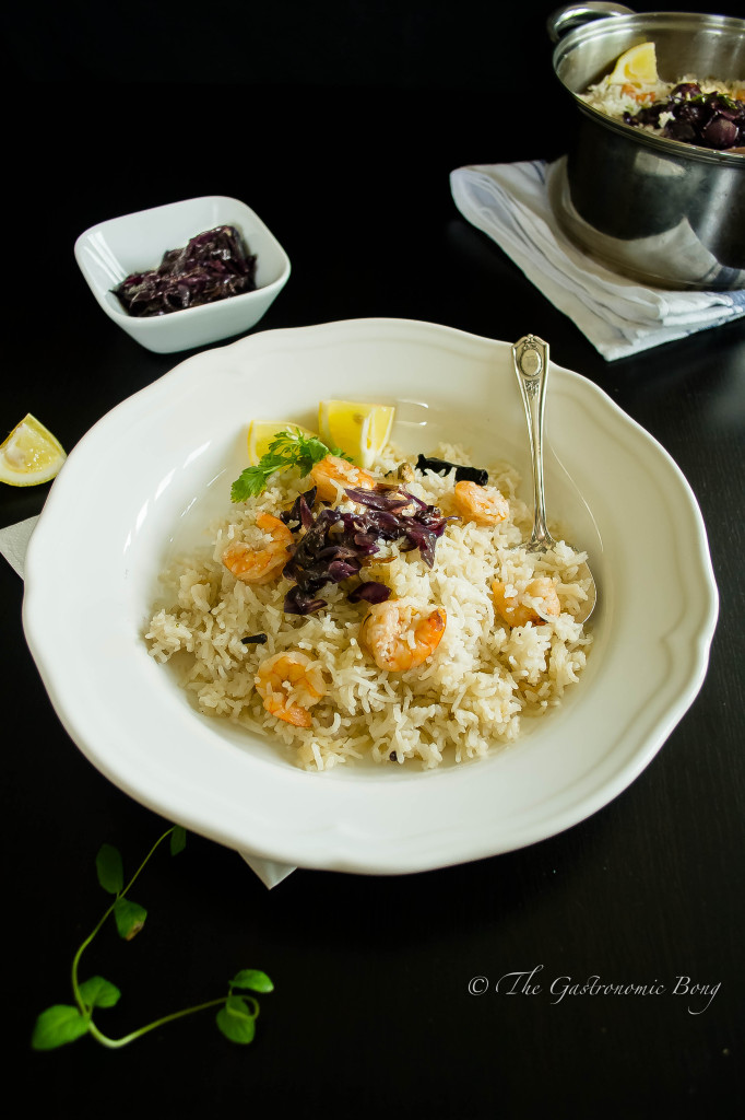 One Pot Coconut Rice with Prawns topped with Caramalized Onions