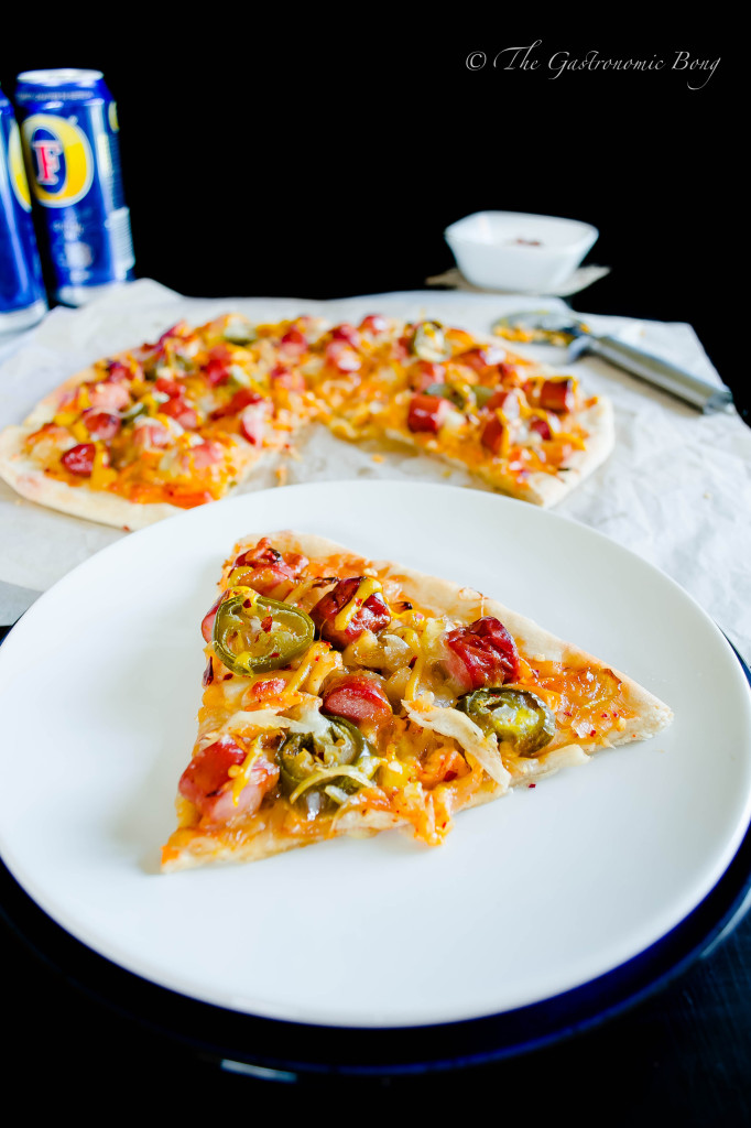 Easy-Peasy Hotdog Pizza with Caramelised onion and Jalapenos6
