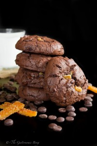 Double Chocolate Brownie Cookies with Walnuts and Candied Orange Peel
