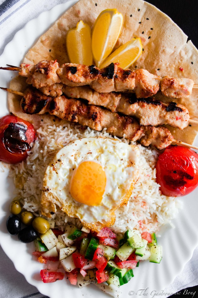 Persian Joojeh {Chicken} Kebab on a bed of Chelo, Fried Egg and Salad Shiraza3