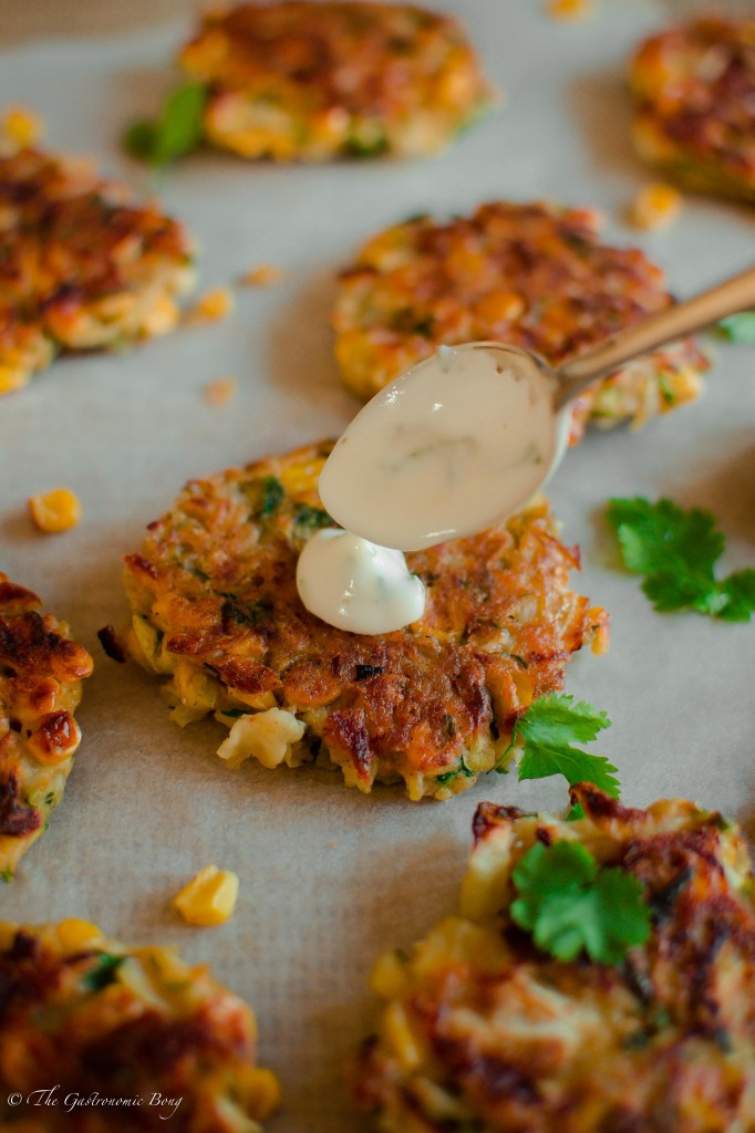 Corn, Cabbage and Zuchhini Fritters with Sweet Chilli Mayo and Mint Yogurt2