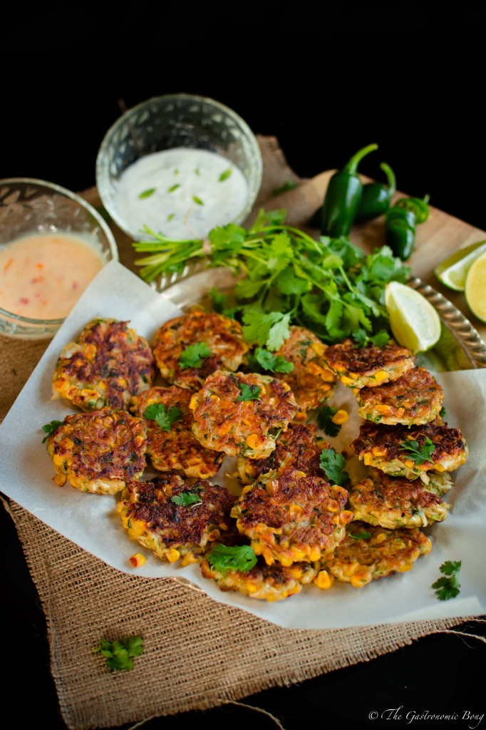 Corn, Cabbage and Zuchhini Fritters with Sweet Chilli Mayo and Mint Yogurt4