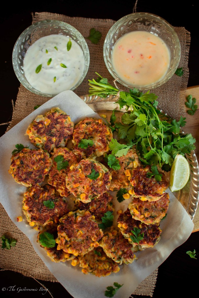 Corn, Cabbage and Zuchhini Fritters with Sweet Chilli Mayo and Mint Yogurt5