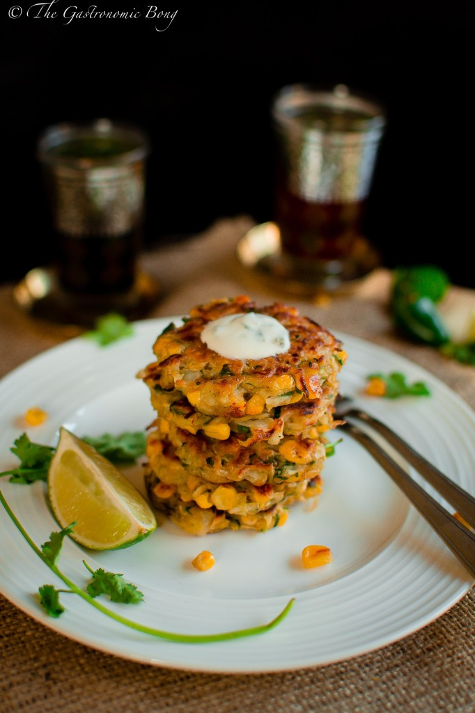 Corn, Cabbage and Zuchhini Fritters with Sweet Chilli Mayo and Mint Yogurt6