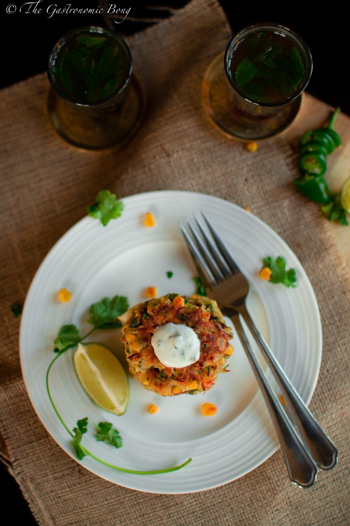 Corn, Cabbage and Zuchhini Fritters with Sweet Chilli Mayo and Mint Yogurt7