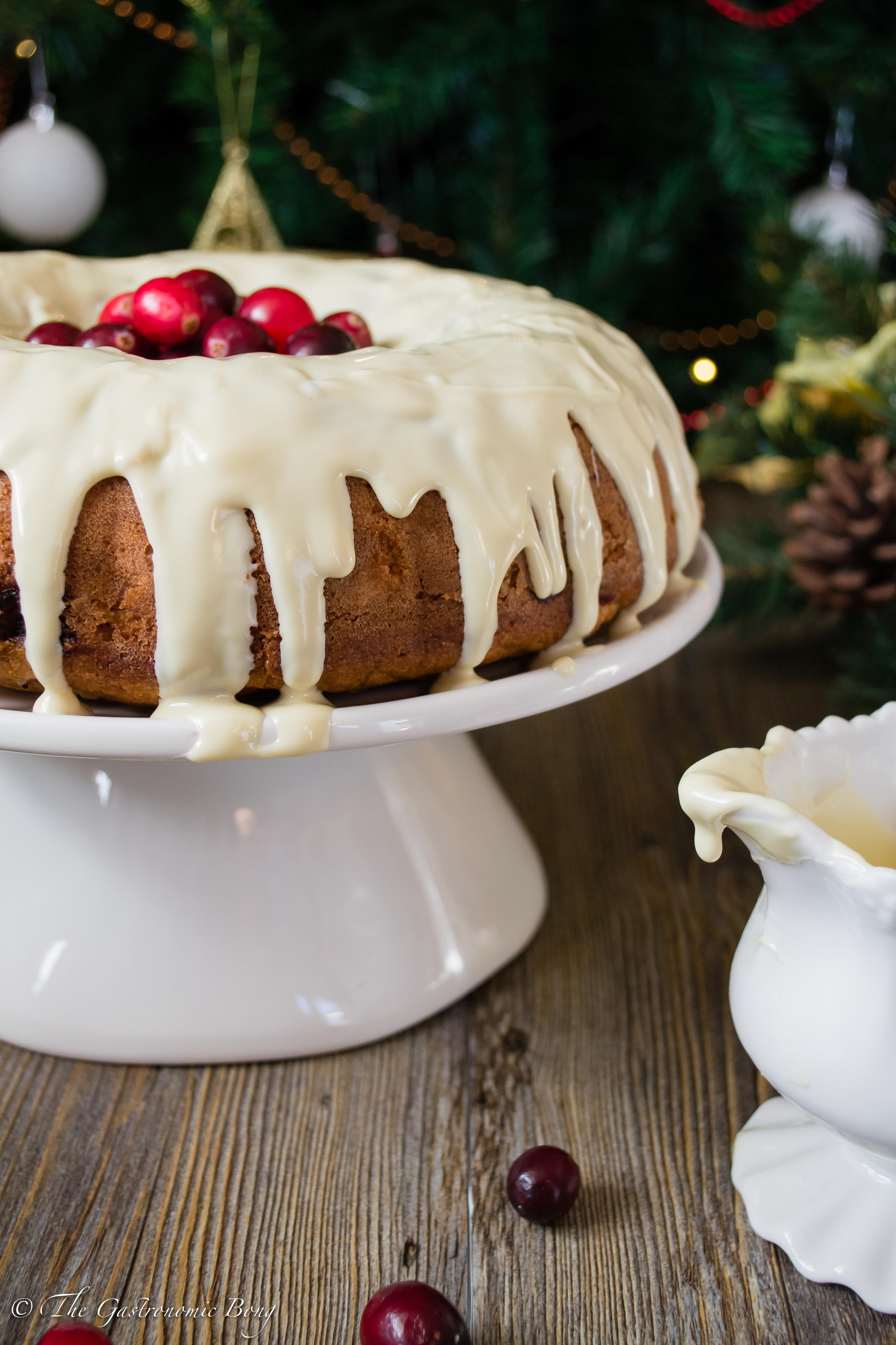 Orange and Cranberry Bundt Cake with White Chocolate Drizzle