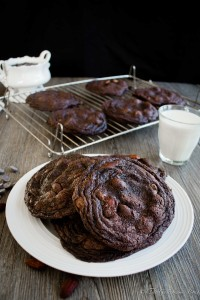 Salted Almond and Hazelnut Chewy Dark Chocolate Cookies