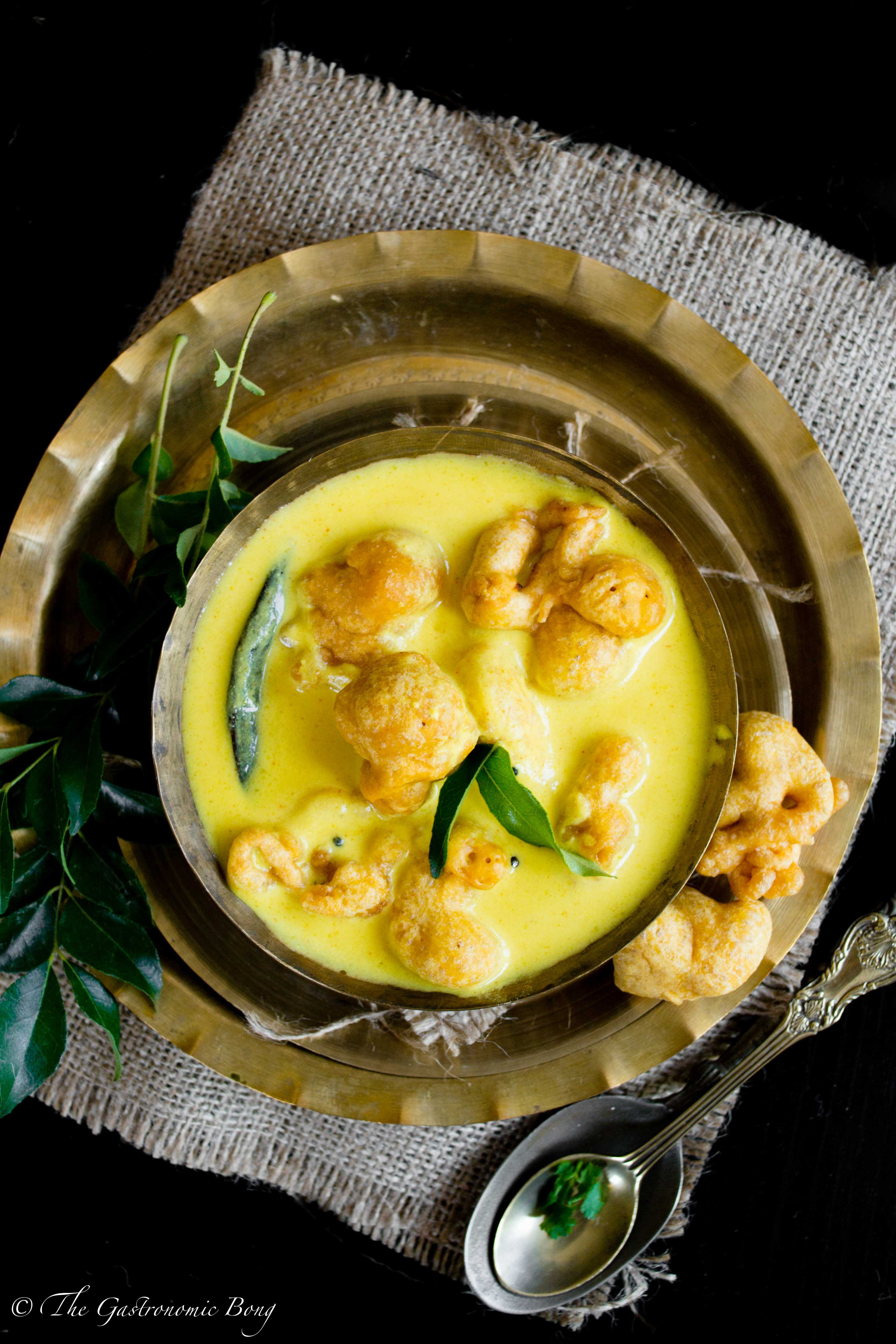 Yogurt Curry With Gramflour Fritters and Cumin Rice - Kadhi Pakora and Jeera Rice