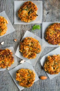Gluten-Free Zucchini Sweet Potatoes and Chicken Fritters With Honey-Mustard Yogurt Dip