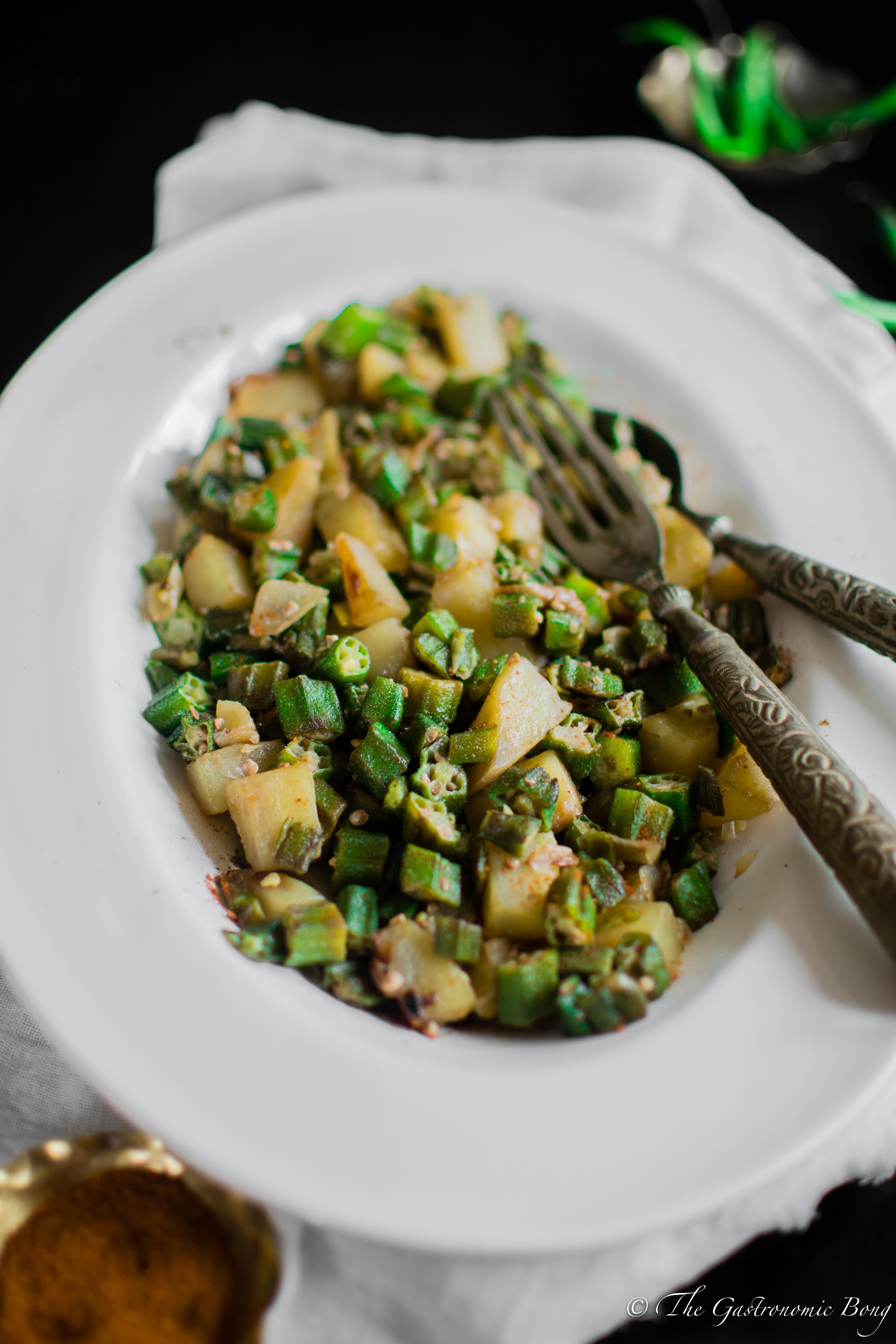 Quick Okra and Potato Fry – Aloo Bhindi Bhaji